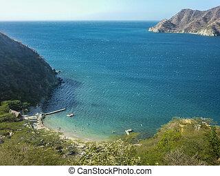 Colombia Taganga Bay Aerial View