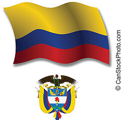 colombia textured wavy flag vector