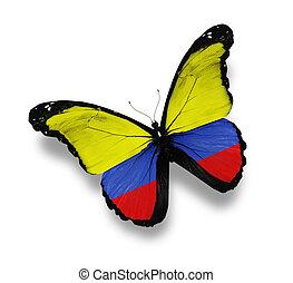 colombiaanse vlag, witte , vrijstaand, vlinder