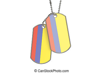 Colombian Dog Tags, 3D rendering
