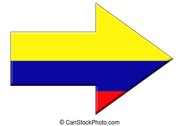 An arrow in the shape of the Colombian flag