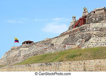 Colombian flag, Castillo San Felipe in Cartagena, Colombia....