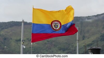 Colombian Flag In The Wind - Colombian flag waving in front ...