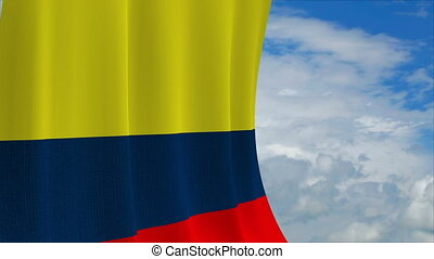 Colombian flag on sky background