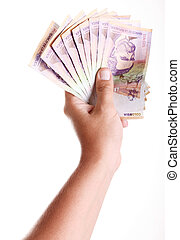 50000 colombian pesos on hand over white background