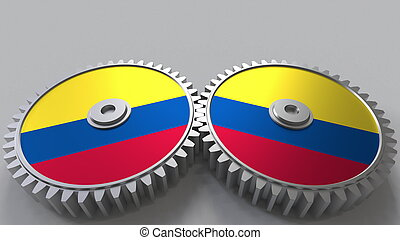 Colombian national project. Flags of Colombia on moving cogwheels. Conceptual 3D rendering