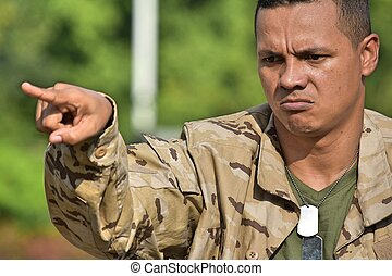 Colombian Soldier Recruit Pointing