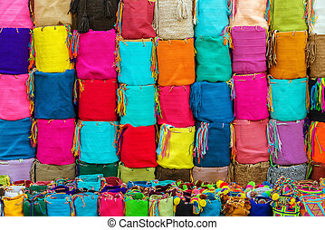 Souvenir bags for sale in Cartagena, Colombia. They are called 'mochilas' and are typical of the Wayuu Indians