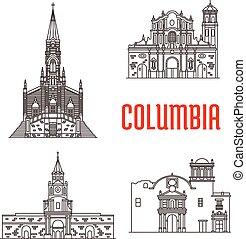 colombien, célèbre, bâtiments, icônes