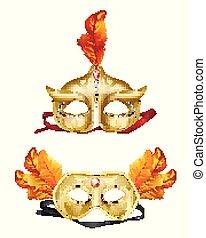 Colombina golden masks 3d realistic vector set