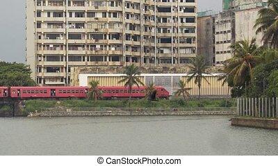 colombo, passager, par, diesel, dépassement, urbain, sri lanka, train
