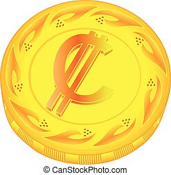 Colon coin - gold colon, metal colon, small change, pocket...