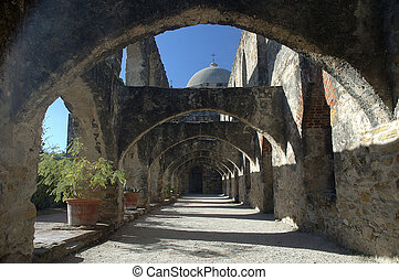 Colonade Arches in the San Jose Mission. Spanish Mission of...