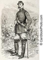 Bosco - Colonel Fernando Bosco old engraved portrait,...