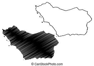 Colonia Department (Departments of Uruguay, Oriental Republic of Uruguay) map vector illustration, scribble sketch Colonia map