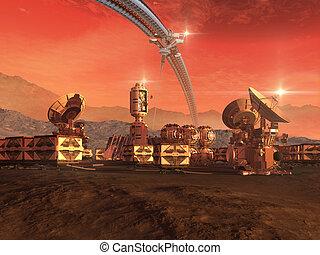 colonia, en, un, planeta rojo