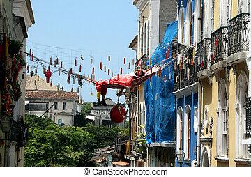 Colonial architecture of Salvador - Pelourinho, Brazil....