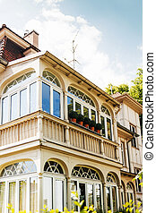 Colonial balconies as seen on the facade of an old house