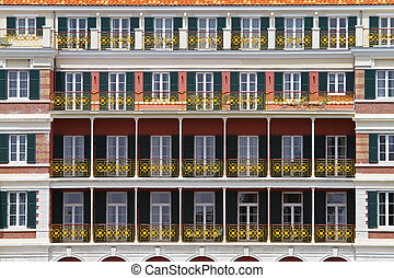 Colonial balconies - Colonial style balconies facade at old...