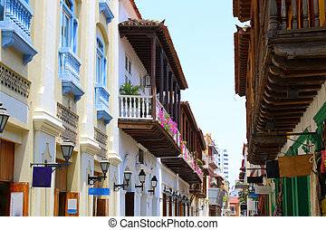 Colonial buildings and balconies in Cartagena, Colombia