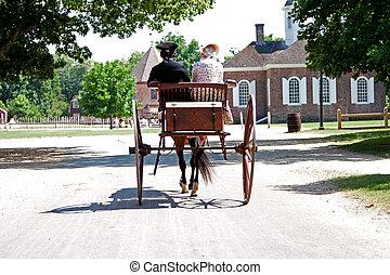 colonial, caballo, carruaje, con, pareja