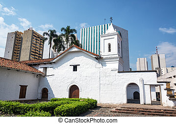 Colonial Church and Modern Skyscrapers