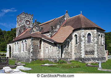 colonial, church., antiga, jamaica