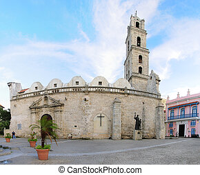 Colonial church in Old Havana plaza - A view of Colonial...