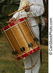 Colonial Drummer - A Colonial Soldier Beats His...