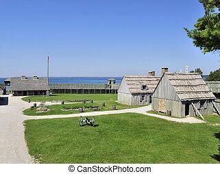 colonial, fortaleza, michilimackinac