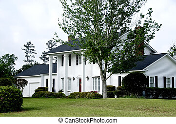 Colonial Home - White colonial home with large columns and...