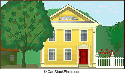 Detailed illustration of 1700s Colonial house in rural setting, EPS10