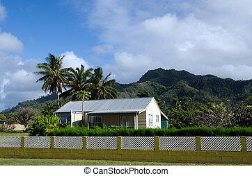 colonial, lar, rarotonga, cozinhe ilhas