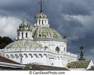 Colonial Quito Cathedral. Ecuador under blue sky