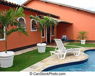 colonial, rojo, casa