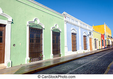 Tipycal colonial street in Campeche, Mexico