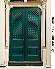 Colonial Green Door
