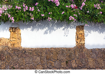 Colonial Wall and Flowers