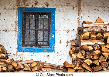 Colonial Window and Firewood
