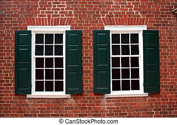 Windows on a building built in the late 1700s.