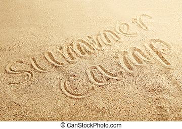 colonie vacances, manuscrit, dans, a, sable plage