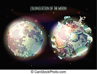 Colonization of Moon vector concept illustration