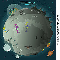 Colonization of the planet - Vector illustration of ...