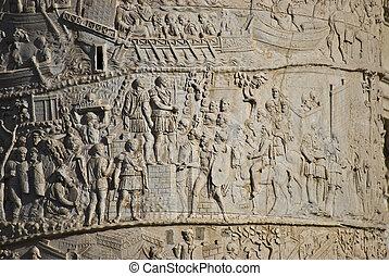 Colonna di Traiano - detail of the column of Traiano in Rome