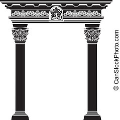 colonna, filigrana, arco, classico