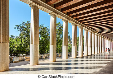 Colonnade of marble classical columns
