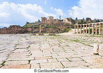 oval forum in antique town Jerash in Jordan - colonnade on ...