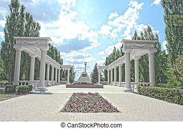 Colonnade the park at summer