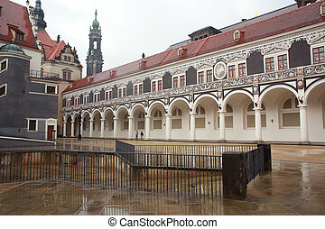 Colonnade - View of the Stable court in the Saxon Royal...