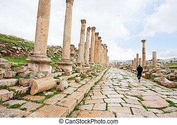 colonnaded, 骨董品, 通り, jerash, 町, 長い間
